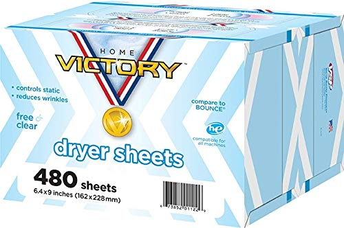 Home Victory Dryer Sheets, Free & Clear, 480Count