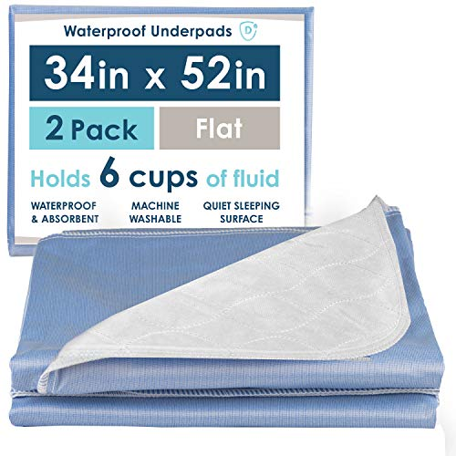 2 Pack of Waterproof Bed Pads, 34 x 52 Inches - Super...