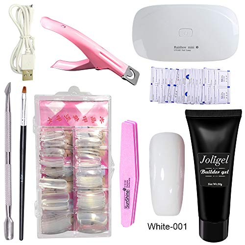 Joligel Polygel Nail Starter Kit met UV/LED Lamp, Builder Gel + Nail Extension Forms Tips + 3-weg Valse Nail Tip Clipper + Cuticle Pusher + Brush + File Buffer + Remover Wraps (Clear Transparent) Set (White)
