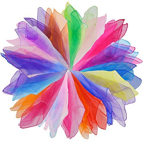 Lifreer 15 bufandas de danza, malabares, bufandas cuadradas de color degradado, bufanda de banda ritmal, bufanda sensorial para beb, trucos mgicos, bufanda para danza del vientre (60 x 60 cm)