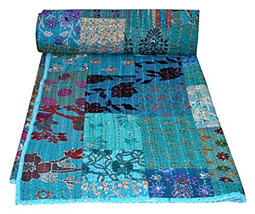 Colcha india de patchwork vintage vintage con bordado Kantha para el hogar, decoración de kantha, colcha kantha, colcha kantha, colcha india con 2 fundas de almohadas