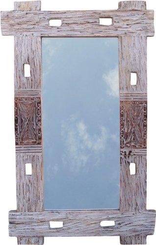 Guru-Shop Flotsam Spiegel, Decoratie Spiegel met Stukken Drijfhout in Lijst - 100x65 cm Wandspiegel, Wit, Spiegels