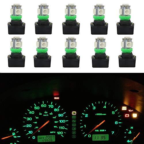 WLJH Lot de 10 ampoules LED à circuit imprimé T10 194 168 PC194 PC195 PC160 PC161 PC168 pour tableau de bord automobile - Vert
