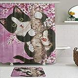 YiiHaanBuy Juego de Cortinas y tapetes de Ducha de Tela,Gato de Flor de Cerezo,Cortinas de baño repelentes al Agua con 12 Ganchos, alfombras Antideslizantes
