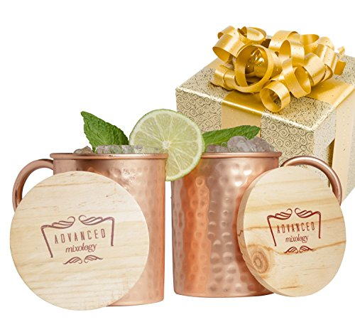 Advanced Mixology Moscow Mule Gift Set 100% Pure Copper Mugs (Set of 2)- 16 Ounce with 2 Artisan Hand Crafted Wooden Coasters
