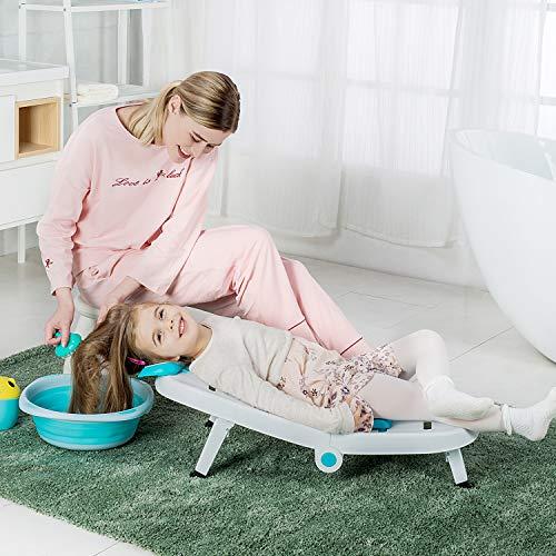 Kids Hair Washing Chair, Children Shampoo Chair Tear-Free, Toddler Head Hair Rinser Salon Seat for Girls Boys (Blue)