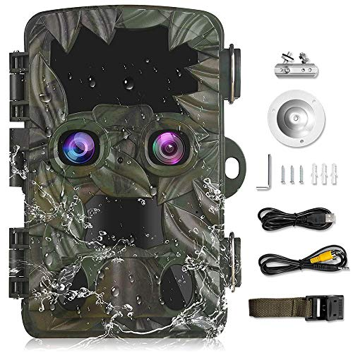 Braveking1 Cámara Caza de Doble Lente con Starlight Night Vision 4K 20MP Trail Game Camera 0.2s Velocidad Disparo IP66 Impermeable Pantalla LCD de 2,4' Cámara de Animal Invisible