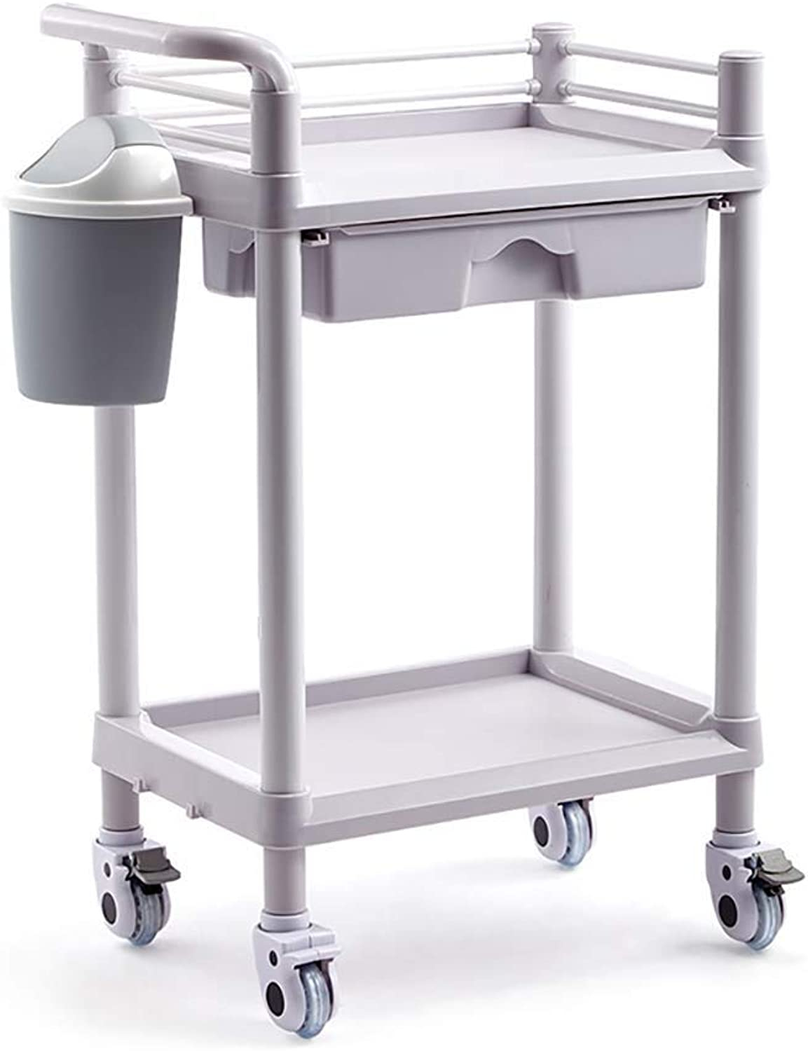 Work Home Cart Tool Beauty Cart with Drawer, Work Home Utility Cart with Dirt Bucket, 2 3 Tier Hairdressing SPA Rolling Trolley with Universal Brake Wheel (Size   2 Tier)