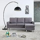 Moderne Livinf Modern Living Reversible Linen Fabric Sectional Sofa, Light Grey