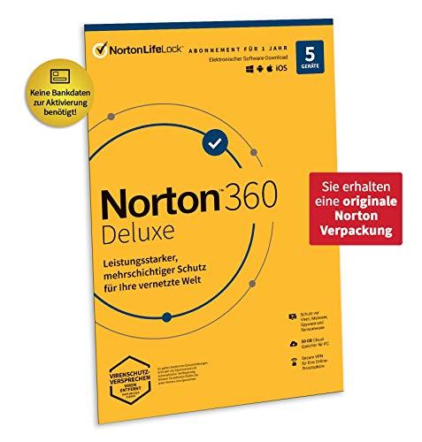 Norton 360 Deluxe 2021 | 5 Geräte | Antivirus | Unlimited Secure VPN & Passwort-Manager | 1 Jahr | PC/Mac/Android/iOS| Aktivierungscode in Originalverpackung