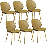 JFIA65A Modern Esszimmerstühle Set Mit 6 PU-Ledersitzen Mit Stabilen Metallbeinen Und Rückenlehnen-Gegenstühlen Für Lounge-Freizeit-Wohnzimmer-Empfangsstühle Sessel (Farbe : Yellow)