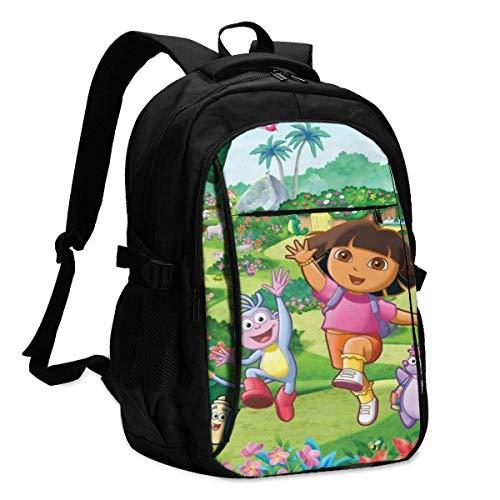 Hdadwy Impresión 3D de Dora The Explorer con Mochila USB, Mochila Escolar, Bolsa de Viaje, Bolsa de montañismo