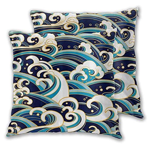 ADONINELP Funda de Almohada Waves Foam Splash, Moderna Funda de Almohada para sofá sofá decoración Funda de Almohada Fundas de cojín 2 Piezas