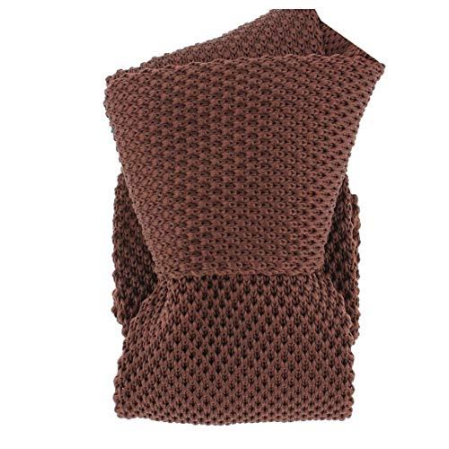 Clj Charles Le Jeune. Cravate tricot. Dandy Farmer, Microfibre. Brun, Uni.