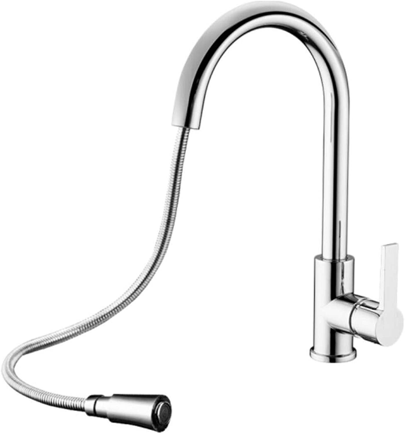 Mucert Bathroom Kitchen Faucet, All Copper Hot and Cold, Pulling Faucet, Can Turn Basin Faucet.