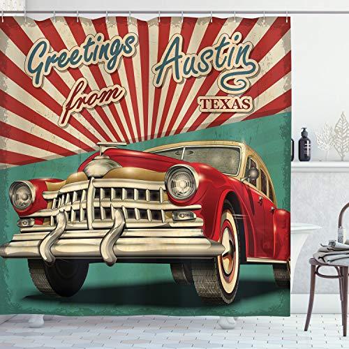 ABAKUHAUS Austin Cortina de Baño, Coche clásico Retro Americana, Material Resistente al Agua Durable Estampa Digital, 175 x 200 cm, Multicolor