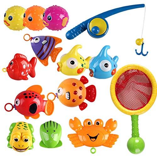 Rain City 2019 Casse-tête pour Enfants pêche Toy Set, 15pcs, 10 Sortes de Poissons et Cannes à pêche artificiels et Filets de pêche pour Les 0-6 Ans Jouer Bébé