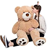 MaoGoLan Giant Teddy Bears Large Plush Stuffed Animals Toy with Footprints Big Teddy Bear for Girlfriend Children 39 Inch,Light Brown