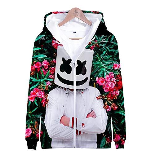 Jonyn 3D Hoodie Sweatshirt mit Kapuze Freizeit Langarm Pullover Unisex HD Druck (XXS-XXXL) Marshmello M