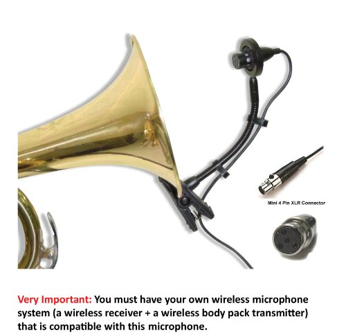 AV-JEFE PMM22 Professional Wind Instrument Microphone for Shure Wireless Systems_with Mini Shock Mount Holder; Great for Horns, Trumpets, Clarinets, Saxophones, and Drums