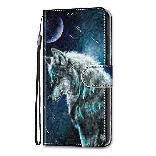 Huawei Y8s Case, 3D Art Shockproof Premium Soft PU Leather Shock-Absorption Notebook Wallet Phone Cases with Kickstand Function Card Holder ID Slot Slim Flip Protective Cover Moon Wolf