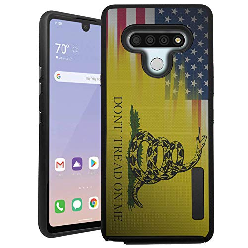 CasesOnDeck Hybrid Case Compatible with LG Stylo 6 / Stylo 6 Case (2020) [Grip Tactical] Slim Shock Protecting Rubberized Cover (Dont Tread On Me)
