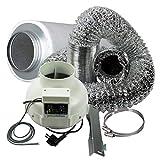 Cultivalley Klima-Set Premium mit thermoregler, 400m³ Rohrlüfter & 425m³ Aktivkohle-Filter 125mm...