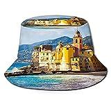 Sombrero de pescador unisex, azul acantilado Italia escénica Riviera mediterránea Vista panorámica de la costa Camogli Nature Design Sombrero de...