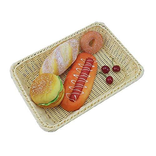 14'Rattan Bread Basket, Poly-Wicker Bread Basket,Fruit basket, Long Woven Tabletop Food Fruit Vegetables Serving Basket, (Banneton Brotform ) & Bread Making (creamy-white)