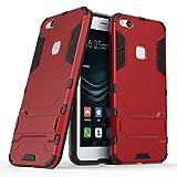 Funda para Huawei P10 Lite (5,2 Pulgadas) 2 en 1 Híbrida Rugged Armor Case Choque Absorción Protección Dual Layer Bumper Carcasa con Pata de Cabra (Rojo)