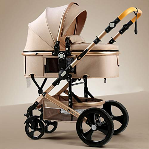 Lightweight Baby Stroller with Carry Handle – Rose Gold Frame and Navy Blue Canopy – Lightweight Travel Stroller (Color : Khaki)