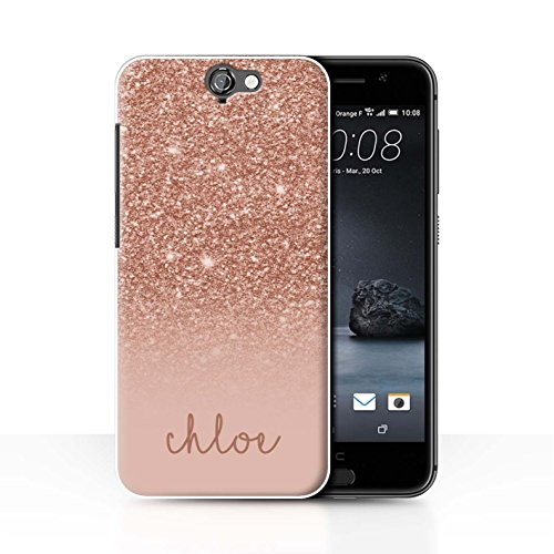 Personalisiert Hülle Für HTC One A9 Individuell Glitter Effekt Roségold Design Transparent Ultra Dünn Klar Hart Schutz Handyhülle Case