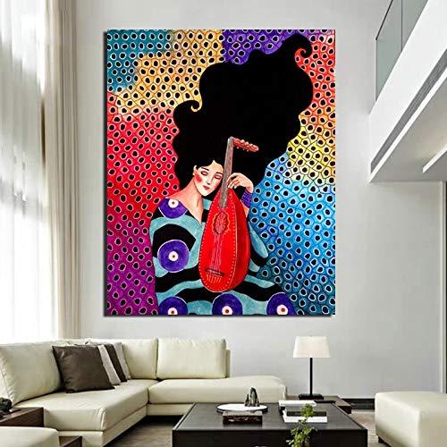 Cartel de arte de pared Retro msica chica Cuadros papel pintado lienzo pintura impresin sala de estar decoracin del hogar pintura moderna sin marco A81 40x60cm