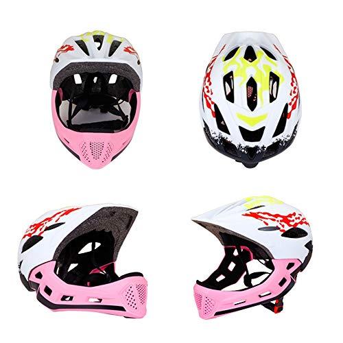 Kaper Go Kinderrutsche Fahrrad Radfahren Fahrrad Skateboard Rollschuhlaufen Balance Auto Sport Helm Sicherheit Vollhelm (Color : Pink)