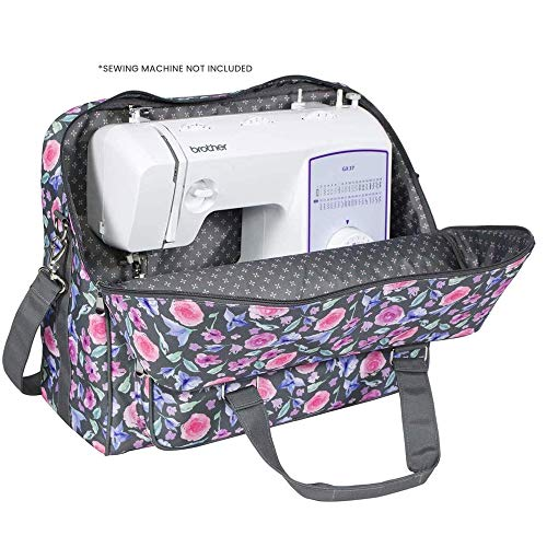 Everything Mary Deluxe Universal Sewing Machine Case, Floral - Portable Cover Tote Bag for Brother, Singer & Most Machines - Carrying Travel Storage Carrier Supply Organizer for Accessories