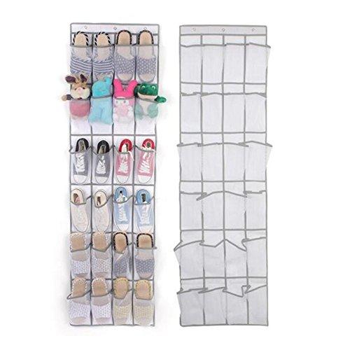 Wiiguda@ Portascarpe da Appendere alla Porta Organizzatore di Scarpe Salvaspazio Armadio Scarpe Organizzatore di Scarpe con 24 Tasche a Rete Sospese, Bianco