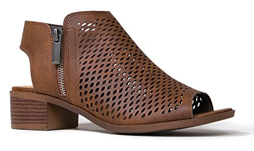 J. Adams Tracy Perforated Flat Bootie - Casual Open Toe Low Heel - Cut Out Shoe, Light Brown, 8