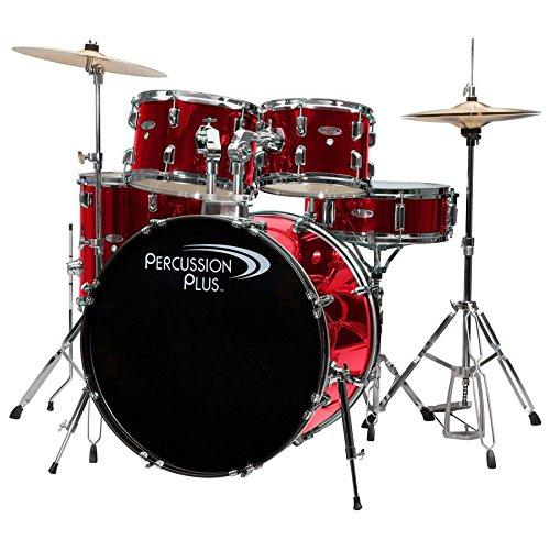 Percussion Plus PP4100BRD – Juego de tambores (5 unidades), color rojo