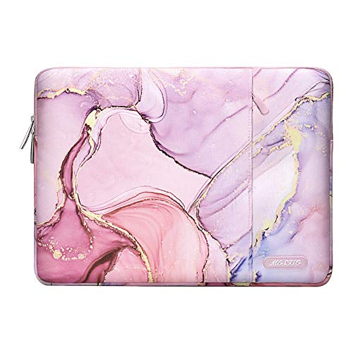 MOSISO Laptop Sleeve Compatible with 13-13.3 inch MacBook Pro, MacBook Air, Notebook Computer, Water Repellent Polyester Vertical Carrying Case Cover Bag with Pocket Marble MO-MBH216, Pink