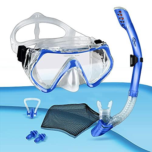 tropisport | Premium Schnorchelset mit Schnorchel und Taucherbrille – Inkl. bruchfreier Anti Fog Tauchmaske, Netzbeutel, Ohrstöpsel, Nasenklammer (Blau)