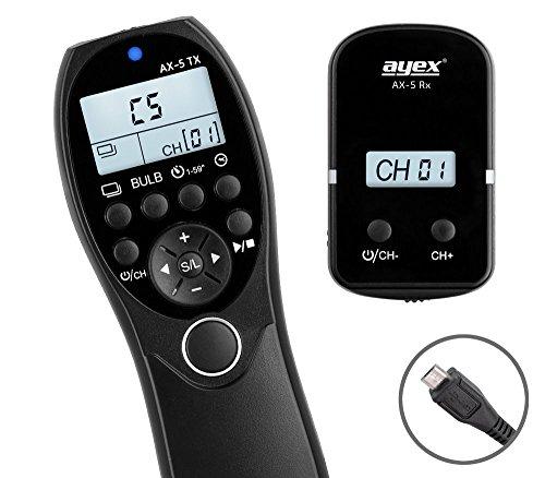 ayex AX-5 (RR90) Timer Funk-Fernauslöser - Kompatibel mit Fujifilm X100F, X-T20, X-T2, X-E2, X-M1, X-A3, X-A10, GFX 50S, X-Pro2 u.v.m. - mit beleucht. LCD-Display und Funktionen wie Timer, Deley, Bulb - inkl. Sender und Empfänger