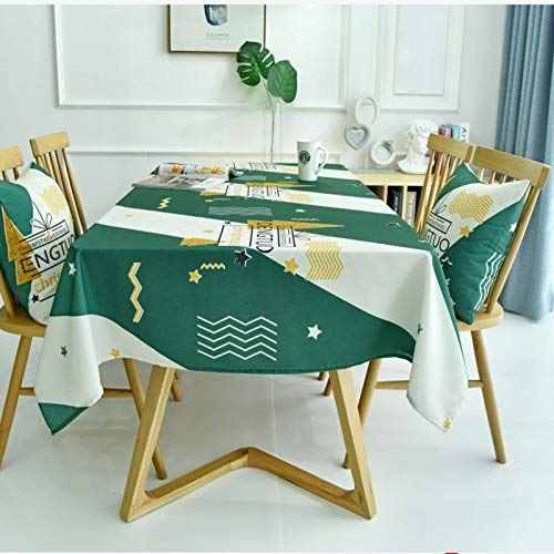 HTUO Tablecloth Christmas Decoration Dust Proof Table Cover Stain Proof Waterproof Washable Kitchen Dinning Party Dust Proof Cover Towel Wedding Banquet Rectangular Cover Cloth 130 * 160cm