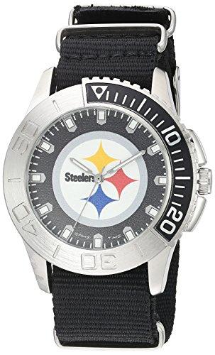 Game Time Men's 'Starter'  Metal and Nylon Quartz Analog  Watch, Color:Black (Model: NFL-STA-PIT)