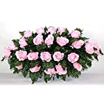 Memory Lane Memorials Deluxe Silk Flower Saddle in Pink for Grave-site Presentation in Remembrance of Loved Ones.