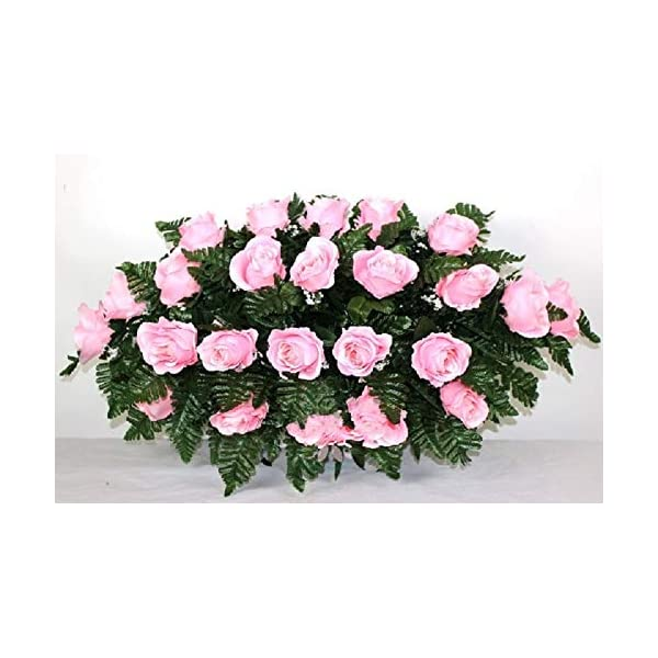 XL Pink Roses Artificial Silk Flower Cemetery Tombstone Grave Saddle