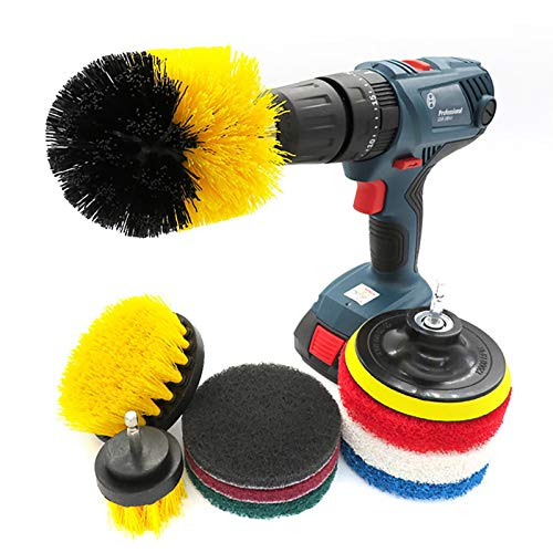 Cleaning Scrub Brush Drill Power Brush Attachment Set Scrubber Cleaning Brush Kit 10Pack All Purpose Bathroom Surfaces Shower Tile (Color : Multi-colored, Size : Free size)
