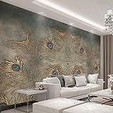SDzuile Murales Decorativos Pared 3D Pegatinas Mural Dorado Pavo Real Plumas 200X140Cm Mural De Dormitorio Sala De Estar Extraíbles Papel Pintado Tejido No Tejido Decoración De Pared