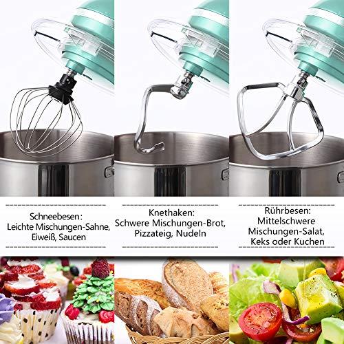 Aucma Küchenmaschine 1400W mit 6,2L Edelstahl-Rühlschüssel, Rührbesen, Knethaken, Schlagbesen und Spritzschutz, 6 Geschwindigkeit Geräuschlos Teigmaschine, Blau - 9