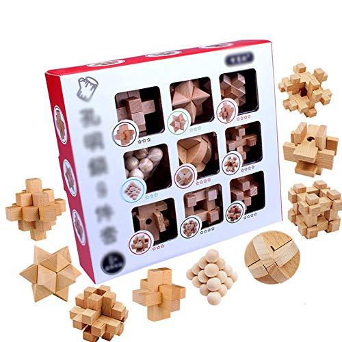 Brain Game Hout-Metaal 8 Stuks/Set Metal Wire Puzzel En Houten Brain Teaser Puzzel Voor Kinderen En Volwassenen Vergadering En Ontvlechting 3D Houten Puzzels Speelgoed- Kleurrijke