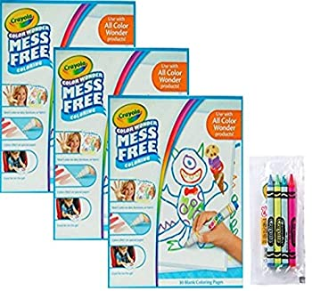 Crayola Color Wonder Drawing Paper 90 Sheets Bundled with a 4-Pack of Cello Wrapped Crayola Crayons